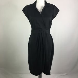 Elie Tahari Faux wrap black dress career v neck